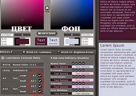 Цветовой контраст и стандарт WCAG 2.0
