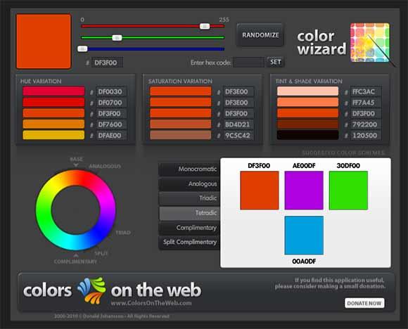 colorsontheweb - подбор цвета