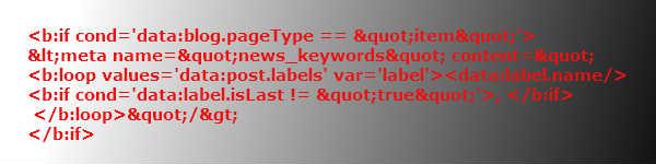 Код мета-тега news_keywords для Blogger