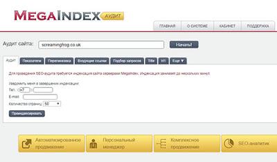 Проверка сайта сервисом Мegaindex